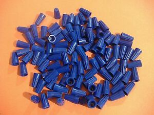 Lot Of 100 Small Blue Wire Connectors Twist On Conical Connector Twist on Nuts