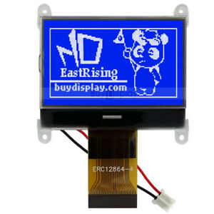 Blue 128x64 graphic Lcd Module Display Spi Serial st7565p W tutorial connector