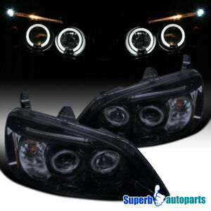 For 2001 2003 Honda Civic Led Dual Halo Projector Headlight Glossy Black Smoke