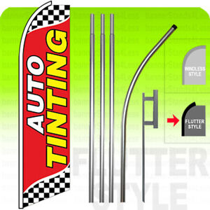 Auto Tinting Swooper Flag Kit Feather Flutter Banner Sign 15 Tall Checkered Rb