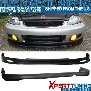Fit 1999 2000 Honda Civic Ek 2 Mg Front Rear Bumper Lip Spoiler Polypropylene