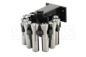 Shars 1 8 To 3 4 11 Pc Precision R8 Collet Set W R8 Rotating Collet Rack New