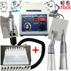 Dental Lab Marathon 35k Rpm Handpiece Electric Micro Motor N3 10 Drills Burs Us