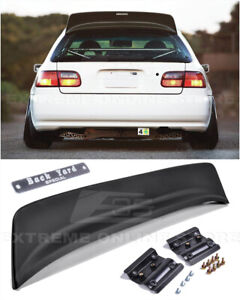 For 92 95 Honda Civic Hatchback Jdm Bys Style Rear Roof Spoiler Wing W Emblem