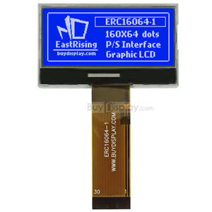 Blue 2 160x64 Graphic Cog Lcd Module Display parallel spi Serial i2c W tutorial