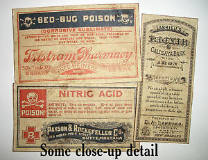 13 Poison Vintage Look Victorian Apothecary Labels Halloween Steampunk Primitive