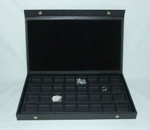 Multipurpose Textured Top 32 Slot Wood Case For Jewelry And Other Items