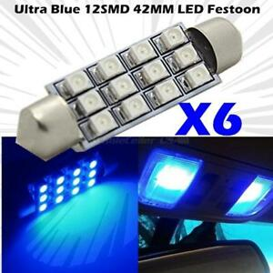 6x Blue 42mm 5050 Led 12 Smd Festoon Interior Dome Light Lamp Car Bulbs 578 570