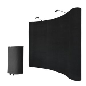 8ft Portable Black Display Trade Show Booth Exhibit Pop Up Kit W spotlights