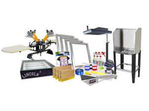 Screenprinting Press 4 Color 1station 16 Flash Dryer Exposure Equipment Kit Four