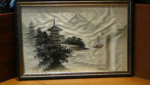 Antique 19c Japanese Silk Embroidery Of Palace Fuji And Boat On Water Framed 1