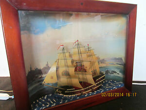 Ship Model Lighted Sound Motion Shadowbox
