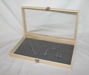 Natural Wood Glass Top Jewelry Display With Gray Velvet Pad