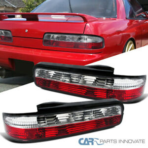For Nissan 89 94 240sx S13 Coupe 2dr Tail Lights Brake Stop Rear Lamps Red Clear