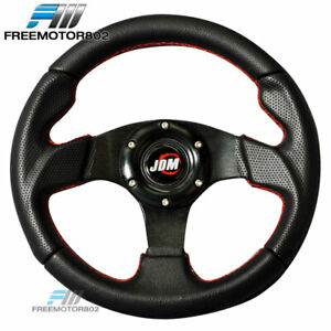 Steering Wheel Type 2 280mm Black With Horn Jdm Logo Red Stitch For Most Car