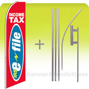 Income Tax Irs E file Feather Flutter Swooper Banner Sign Flag Tall 15 Kit Rb