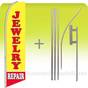 Jewelry Repair Swooper Flag Kit Feather Flutter Banner Sign 15 Tall Yb
