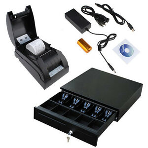 Usb 58mm Pos Thermal Dot Receipt Printer Set Electronic Cash Drawer Roll Paper