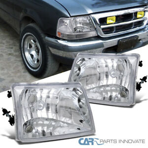 1998 2000 Ford Ranger Pickup Euro Style Replacement Headlights Chrome Clear Pair