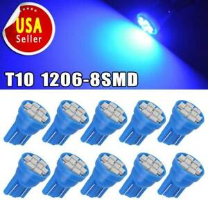 10x Blue T10 2825 8smd Led Wedge Interior Dome Map Instrument Light Bulb W5w 168