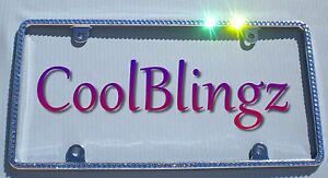 Small Light Blue Crystal License Plate Frame Bling Made With Swarovski Elements