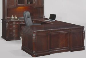Mahogany U Shaped Desk With Carvings File Drawers Power Strip Office Furniture