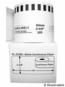 Non oem Fits Brother Dk 2205 Continuous Thermal Labels 2 Rolls Of 100