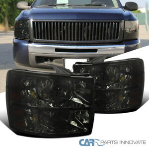 For 07 14 Chevy Silverado 1500 2500 3500 Euro Replacement Smoke Lens Headlights