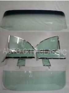 Glass 1955 1956 Chevy Pontiac 2dr Hardtop Complete Set With Side Assembly Green