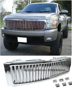 For 07 13 Silverado 1500 Polished Chrome Vertical Style Front Bumper Hood Grille