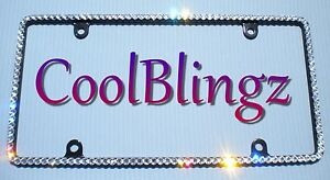 Thin Crystal Rhinestone License Plate black Frame Made With Swarovski Elements