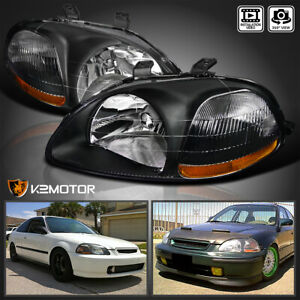Black For 1996 1998 Honda Civic Dx Ex Lx Replacement Headlights Lamps Left Right