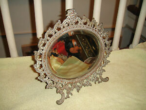 Antique Victorian Beveled Glass Makeup Mirror W Stand Cherub Ornate Frame Lqqk