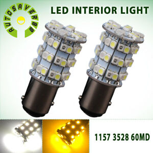 2x Dual White Amber 1157 Bay15d 60 Smd Led Back Up Reverse Light Bulbs 1076 7528