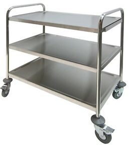 Ace Stainless Steel 3 Shelves Bus Cart 250lbs Cap Economic Duty Food Cart C 23k