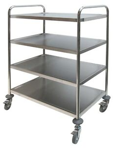 Ace Stainless Steel 4 Shelves Bus Cart 250lbs Cap C 24k Economic Duty Food Cart