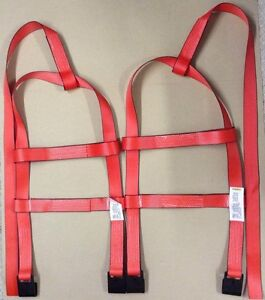 Demco Tiedown Straps Adjustable Tow Dolly Wheel Net Set Flat Hooks Red Usa 2t