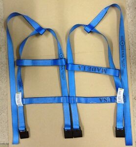 Demco Tiedown Straps Adjustable Tow Dolly Wheel Net Set Flat Hooks Blue Usa 2t