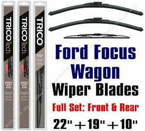 2000 2007 Ford Focus Wagon Wiper Blades 3pk Front Rear 19220 19190 10 1