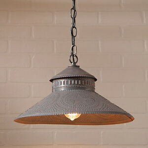 Irvins Country Tinware Shopkeeper Shade Light In Blackened Tin W Star