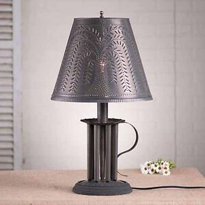 Seven Mold Round Table Lamp W Willow Tin Shade In Black Colonial Lighting