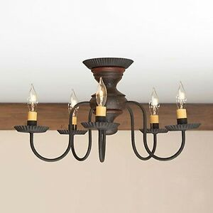 Thorndale 5 Arm Ceiling Light Primitive Flush Mount Chandelier In Espresso