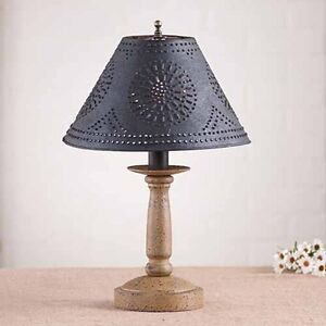 Butcher S Chamberstick Wooden Table Lamp W Shade Primitive Americana Lighting