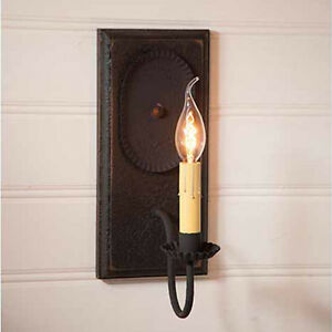 Wilcrest Primitive Single Arm Wall Sconce Light In Americana Black Over Red