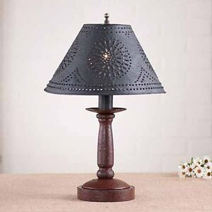 Butcher S Chamberstick Wooden Table Lamp W Shade Primitive Colonial Light