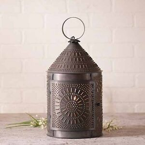 Large Fireside Lantern Lamp In Blackened Tin Country Table Accent Light