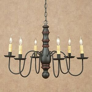 Manassas 6 Arm Wood Chandelier In Sturbridge Black With Red Country Lighting