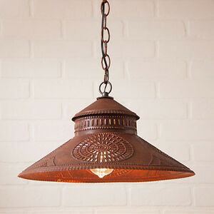 Irvins Country Tinware Shopkeeper Kitchen Pendant Shade Light In Rustic Tin
