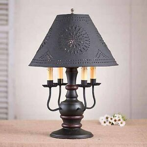 Cedar Creek 4 Arm Wooden Table Lamp In Black W Shade Primitive Colonial Light