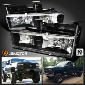 88 98 Chevy Gmc C10 C k Truck Headlights Lamps Pair Black bulbs Included